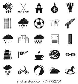 Kid game icons set. Simple set of 25 kid game  icons for web isolated on white background