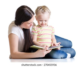 kid girl and her mom reading a book together