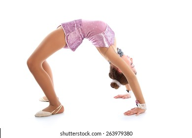 Kid girl rhythmic gymnastics exercises on white background