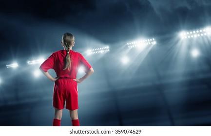 Kid girl soccer player