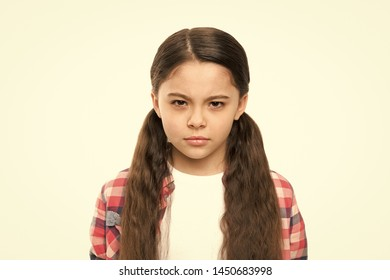Kid girl suspect you. Brutal revenge. Unhappy child hateful glance. Someone deserve punishment revenge. Latent aggression concept. Aggression and harmful feelings. Offended kid dream about revenge.