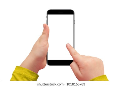 Kid hand holding cellphone with isolated white screen for mockup, isolated on white background.