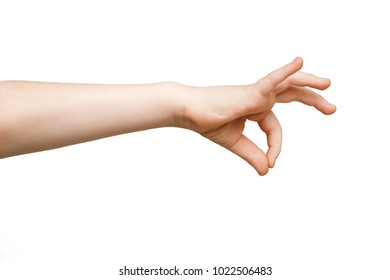 Kid hand making gesture while grab some items isolated on white, close-up, cutout, copy space