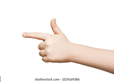 Kid hand pointing on virtual object with index finger, making gun gesture, isolated on white background, close-up
