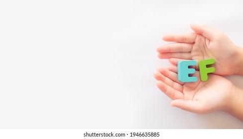 kid hand showing EF skill on white banner background.Child development.EF - Executive Functions.Healthcare, self esteem kid, child, childhood, Executive Functions skill on kid.self control.school.
