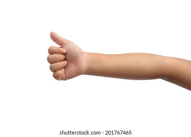 Kid hand shown thumb up symbol on isolated white background