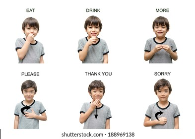 kid hand sign language on white background