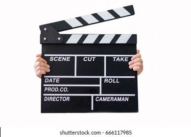 kid hands holding clapper board for making video cinema in studio.Movie production clapper board or slate film concept.