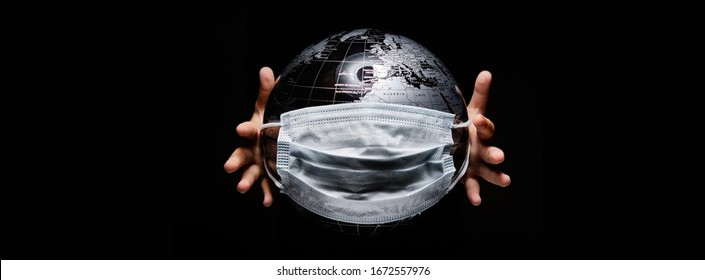 Kid hold globe map sphere covered with facemask isolated on black horizontal background. Ecological problems disasters. COVID 19 sars pandemic infection disease concept image, copy space for text