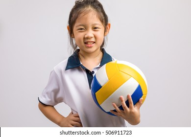 Kid Holding Ball, Isolated on White