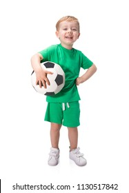 Kid holding a soccer ball isolated on white background