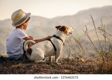 Kid hugging his pet dog looking on mountain view