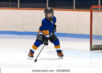 Kid ice hockey player ready for the puck during a game in an arena