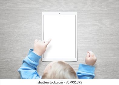 Kid learn to use tablet. Touch isolated screen for mockup.