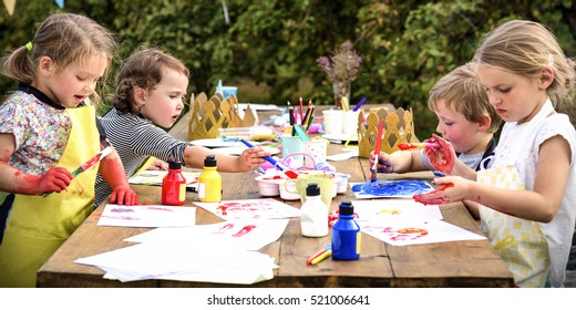 Kid Learning Painting Drawing Art Concept