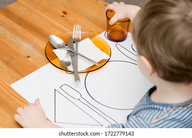 Kid learning to Serve a Table. Task according to Montessori methodology.
