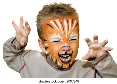 Kid with lion painted face. On white background.