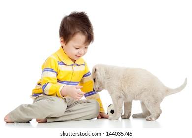 kid little boy and puppy dog