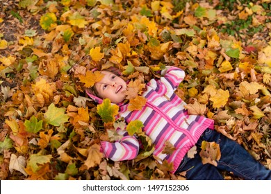 Kid lying on colorful maple leaves, top view shot.