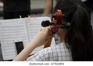 Kid musician play music