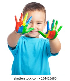 kid with painted hands on a white background