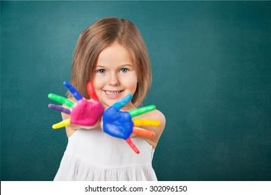 Kid, paintings, holi.