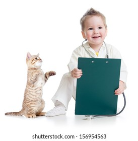 kid playing doctor with cat isolated on white