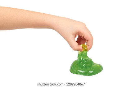 kid playing green slime with hand, transparent toy