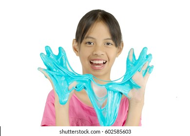 Kid Playing Hand Made Toy Called Slime, Hands squeeze Isolated on White background