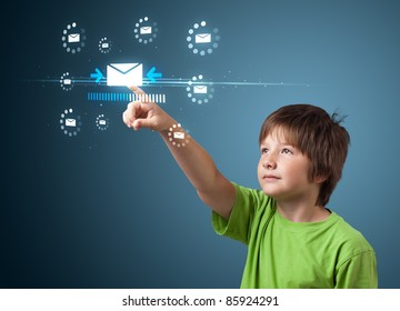 kid pressing messaging type of modern icons with virtual background