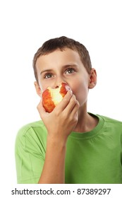 Kid with red apple isolated on white background