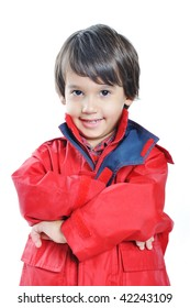 Kid with red jacket on white background