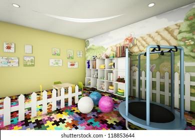 kid room 3d rendering