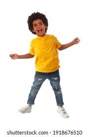 Kid zeigt seine Aufregung auf Weiß