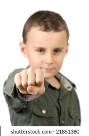 kid showing his fist, isolated on white