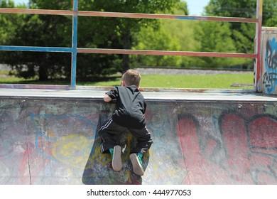 Kid at skate park