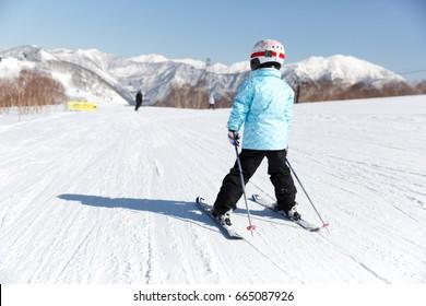 Kid skiing in Japan (Naeba ski Resort in Nagano).