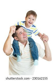 kid son riding dad's shoulders isolated on white background