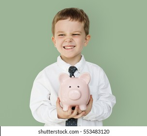 Kid Studio Shoot Gesture Piggy bank Holding