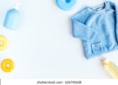 kid stylish clothes set on white background top view mock-up
