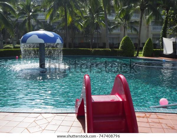 Kid Swimming Pool Play Equipment Slider Stock Photo (Edit ...