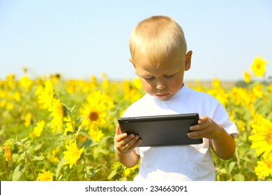 kid with a Tablet PC in the field of sunflowers