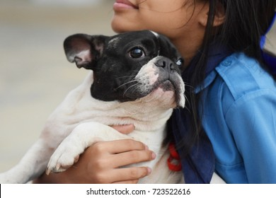 kid teen girl holding fat french bulldog puppy dog with eyes closed, love friend and family concept with copy space