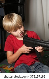 Kid warrior soldier, shooting playing, rifle toy indoor