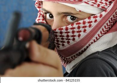 Kid warrior, soldier, shooting, rifle, toy terrorist