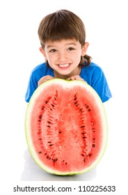 kid and water-melon. isolated on white background
