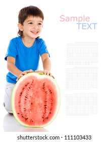 kid and water-melon. isolated on white background with sample text