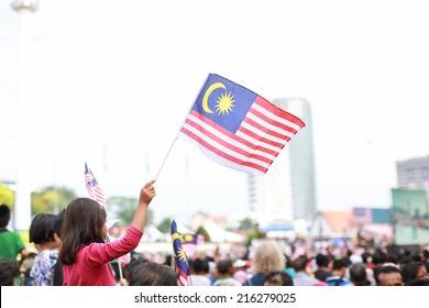 Kid waving flag