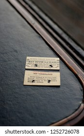Kidderminster / England - January 2 2012: Ticket stubs on table inside steam train for the Severn Valley Railway