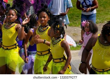 Kiddie revelers dancing on the street at the Junior Caribana Parade Toronto, Ontario, Canada - July 19, 2008